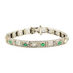 14KT White Gold 1.72 ctw Emerald and Diamond Bracelet