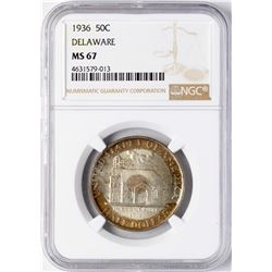 1936 Delaware Commemorative Half Dollar Coin NGC MS67