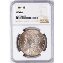 1886 $1 Morgan Silver Dollar Coin NGC MS65