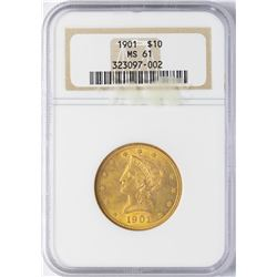 1901 $10 Indian Head Eagle Gold Coin NGC MS61