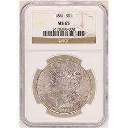 1881 $1 Morgan Silver Dollar Coin NGC MS65
