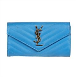 Saint Laurent Large Monogram Flap Wallet in Powder Blue Leather