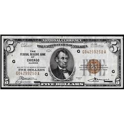 1929 $5 Federal Reserve Note Chicago