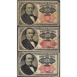 Lot of (3) 1874 Fifth Issue 25 Cent Fractional Currency Notes