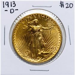 1913-D $20 St. Gaudens Double Eagle Gold Coin
