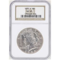 1935-S $1 Peace Silver Dollar Coin NGC MS63