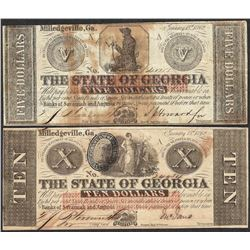 Lot of 1862 $5 & $10 The State of Georgia Obsolete Note