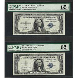 Lot of (2) Consecutive 1935C $1 Silver Certificate Notes PMG Gem Uncirculated 65