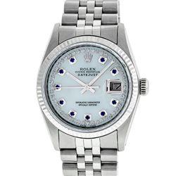 Rolex Men's Stainless Steel Mother Of Pearl Diamond & Sapphire Datejust Wristwat