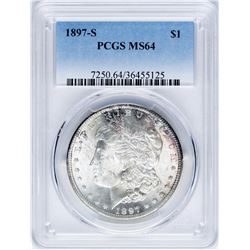 1897-S $1 Morgan Silver Dollar Coin PCGS MS64