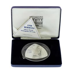 1998 Bermuda $9 Triangle Silver Proof Coin w/ Box & COA
