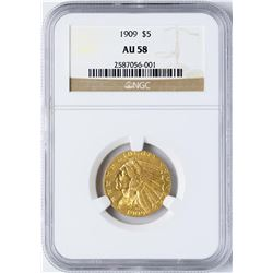 1909 $5 Indian Head Half Eagle Gold Coin NGC AU58