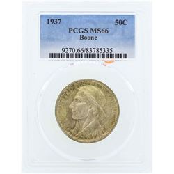 1937 Boone Commemorative Half Dollar Coin PCGS MS66