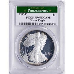 1993-P $1 Proof American Silver Eagle Coin PCGS PR69 DCAM