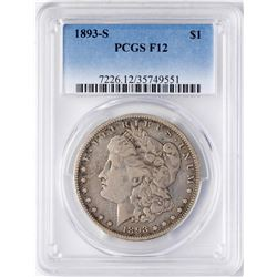 1893-S $1 Morgan Silver Dollar Coin PCGS F12