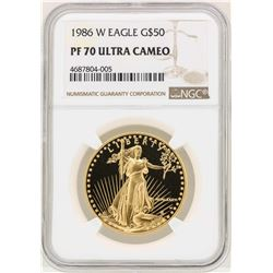 1986-W $50 American Gold Eagle Coin NGC PF70 Ultra Cameo