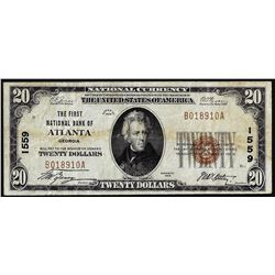 1929 $20 Atlanta, GA CH# 1559 National Currency Note