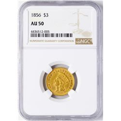 1856 $3 Indian Princess Head Gold Coin NGC AU50