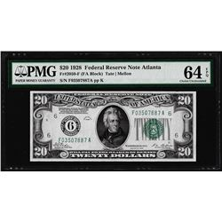1928 $20 Federal Reserve Note Atlanta Fr.2050-F PMG Choice Uncirculated 64EPQ