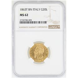 1863-T Italy 20 Lira BN Victor Emanuel Gold Coin NGC MS62