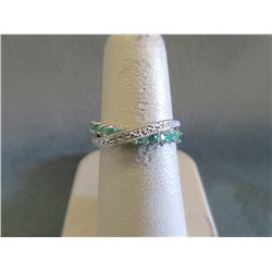 Sterling Silver Emerald & Diamond Crossover Ring
