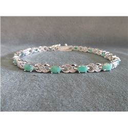 Rich Green Emerald & Diamond Tennis Bracelet