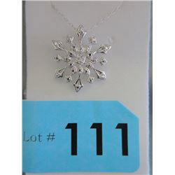 Sterling Silver Snowflake Slide Pendant & Chain