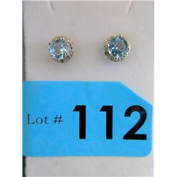 New Sterling Silver Blue Topaz & Diamond Earrings