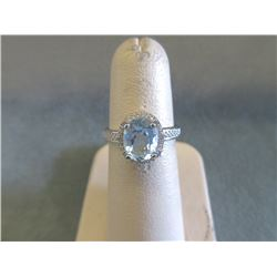 Sterling Silver Baby Blue & Diamond Solitaire Ring