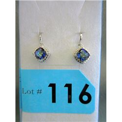New Blue Mystic Topaz & Diamond Dangle Earrings