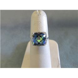 Large 4.5 CT Ocean Mystic Topaz & Diamond Ring