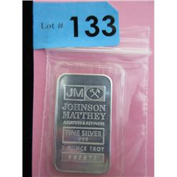 1 Oz. .999 Fine Silver Johnson Matthey Bar