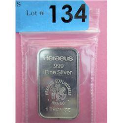 1 Oz. .999 Fine Silver Heraeus Bar