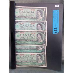 5 Old Canadian Centennial Dollar Bills 1867-1967