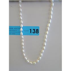New Hand Knotted White Freshwater Pearl Necklace