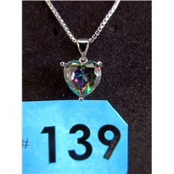Huge 4 CT Ocean Blue Mystic Topaz Heart Necklace