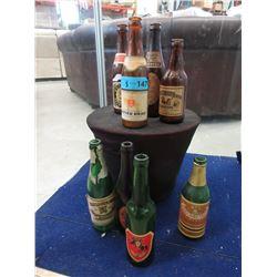 8 Vintage Glass Beer Bottles