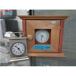 1 Steel & 1 Maple Wood Mantle Clock