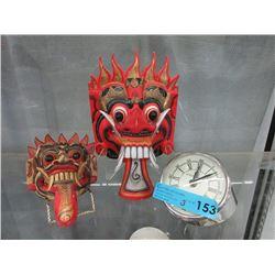 Bond Street Desk Clock & 2 Asian Wall Masks
