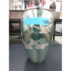"New 10"" Tall Enameled Metal Funeral Urn"