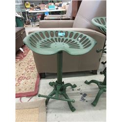 New Cast Metal Tractor Seat Stool - Green