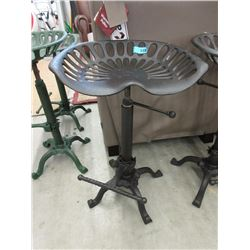 New Cast Metal Tractor Seat Stool - Black