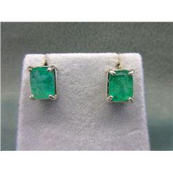 3.64 Carat Emerald Stud Earrings