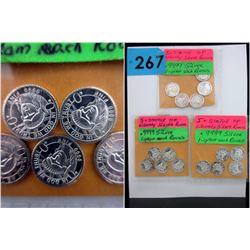 15 x 1 Gram .999 Silver Art Rounds