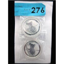 2 x1/2Oz Perth Mint .999 Silver Koala Coins