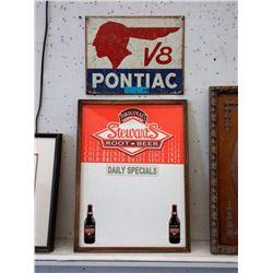 Cafe Root Beer Sign & Metal Pontiac V8 Sign