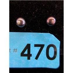 New Sterling Silver 4mm Black Pearl Post Earrings