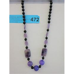 Black Agate, Purple Jade and Amethyst Necklace