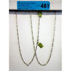 """2 New 18"""" Sterling Silver Figaro Link Chains"""