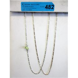 """2 New 20"""" Sterling Silver Figaro Link Chains"""